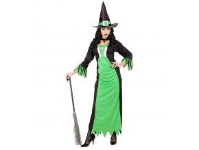 Dámský kostým Čarodějnice zelenočerný
