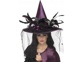 Čarodějnický fialový klobouk se závojem