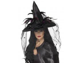 Čarodějnický klobouk se síťkou a havraním peřím