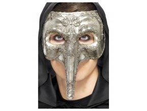 Stříbrná maska morový doktor