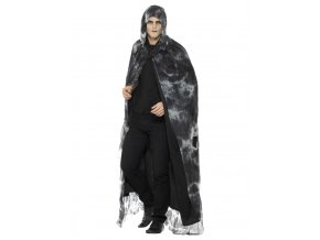 Černobílý potrhaný plášť s kapucí