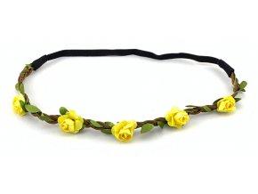 Květinová čelenka žlutá
