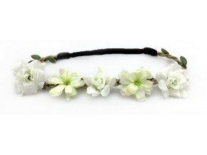 Květinová čelenka s růžemi Bílá