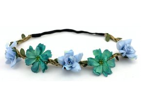 Květinová čelenka s růžemi Modrá
