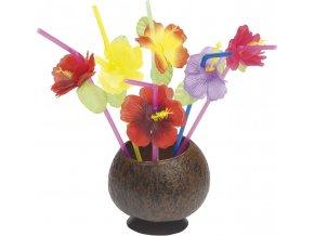 Havajská brčka s květy (12ks)
