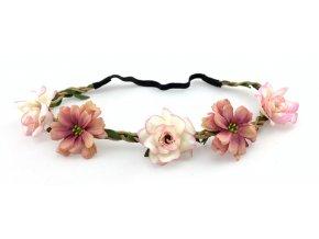Květinová čelenka s růžemi Starorůžová