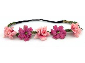 Květinová čelenka s růžemi Růžová