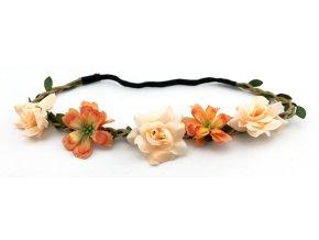 Květinová čelenka s růžemi Oranžová