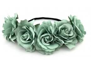 Květinová čelenka růže tyrkysová