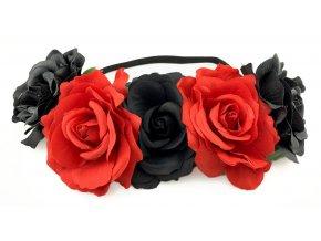 Květinová čelenka růže černočervená