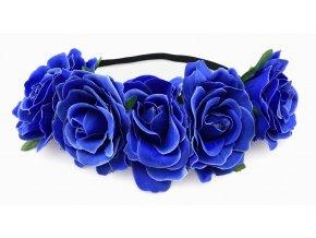 Květinová čelenka růže modrá