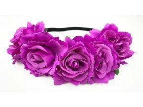 Květinová čelenka růže světle fialová