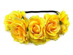 Květinová čelenka růže žlutá