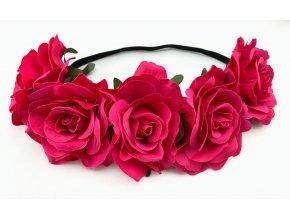 Květinová čelenka růže tmavě růžová