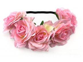 Květinová čelenka růže světle růžová
