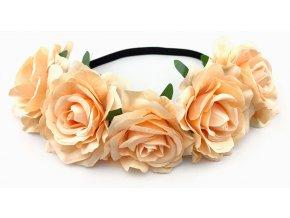 Květinová čelenka růže lososová