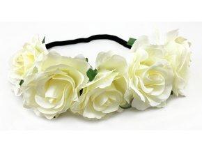 Květinová čelenka růže krémová