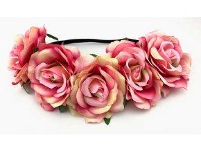 Květinová čelenka růže růžová žíhaná