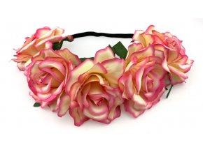 Květinová čelenka růže světle růžová žíhaná