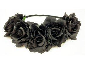 Květinová čelenka růže černá