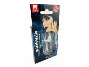 Černé umělé nehty s kamínkem