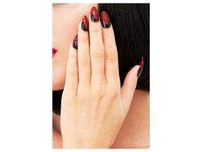 Černé umělé nehty s glitry