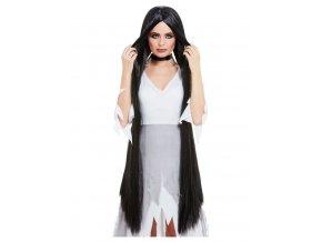 Dámská paruka černá dlouhá (120 cm)
