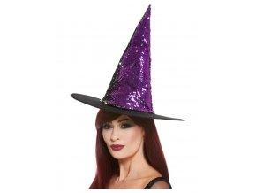 Čarodějnický klobouk fialový s flitry