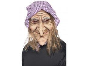 Maska čarodějnice s vlasy a šátkem