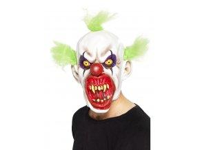Maska Děsivý klaun (zelené vlasy)