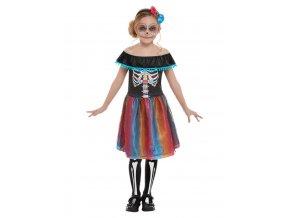 Dětské barevné šaty Sugar skull