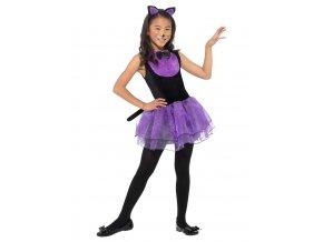Dětské fialové šaty Kočka