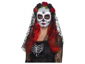 Maska Sugar skull s černým závojem