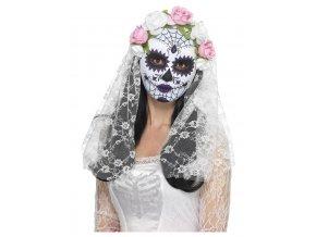Maska Sugar skull s bílým závojem
