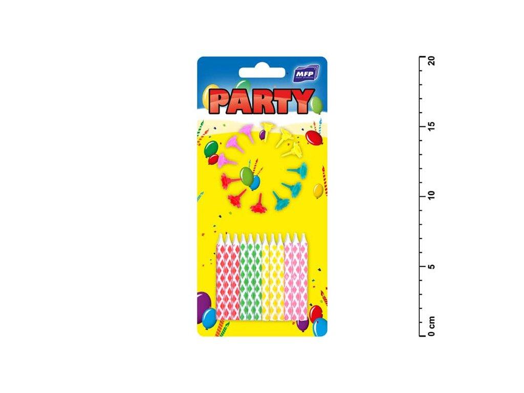 dortové svíčky barevné 24ks+12ks držák 8800063