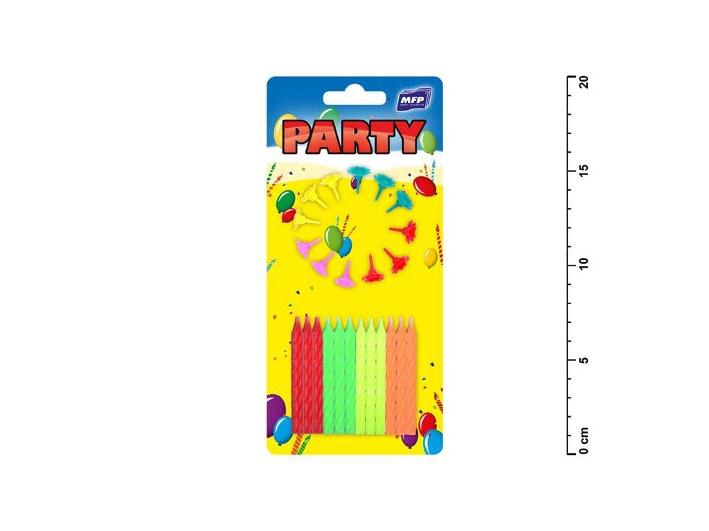 dortové svíčky neon 24ks+12ks držák 8800064