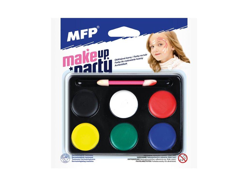 barvy na obličej se štětečkem - 6 ks barev 6300361