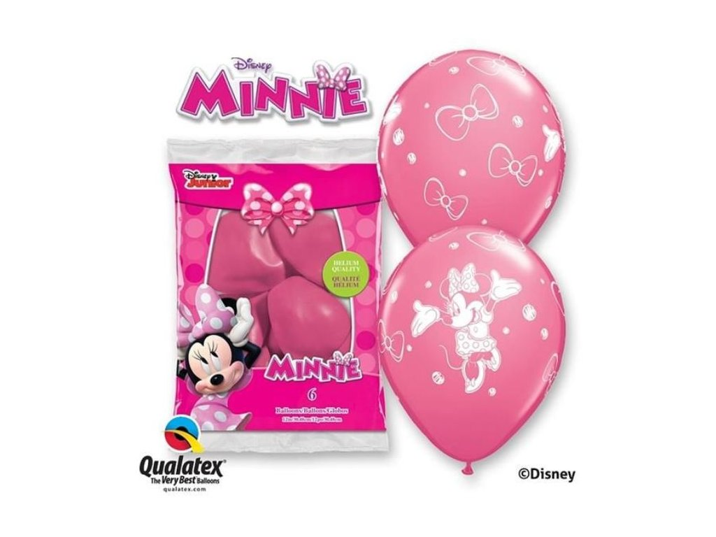 Balónky myška Minnie 30 cm - 6 ks
