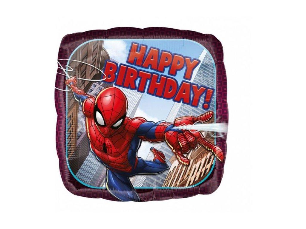 Balón foliový Spiderman - narozeniny - Happy Birthday - 43 cm