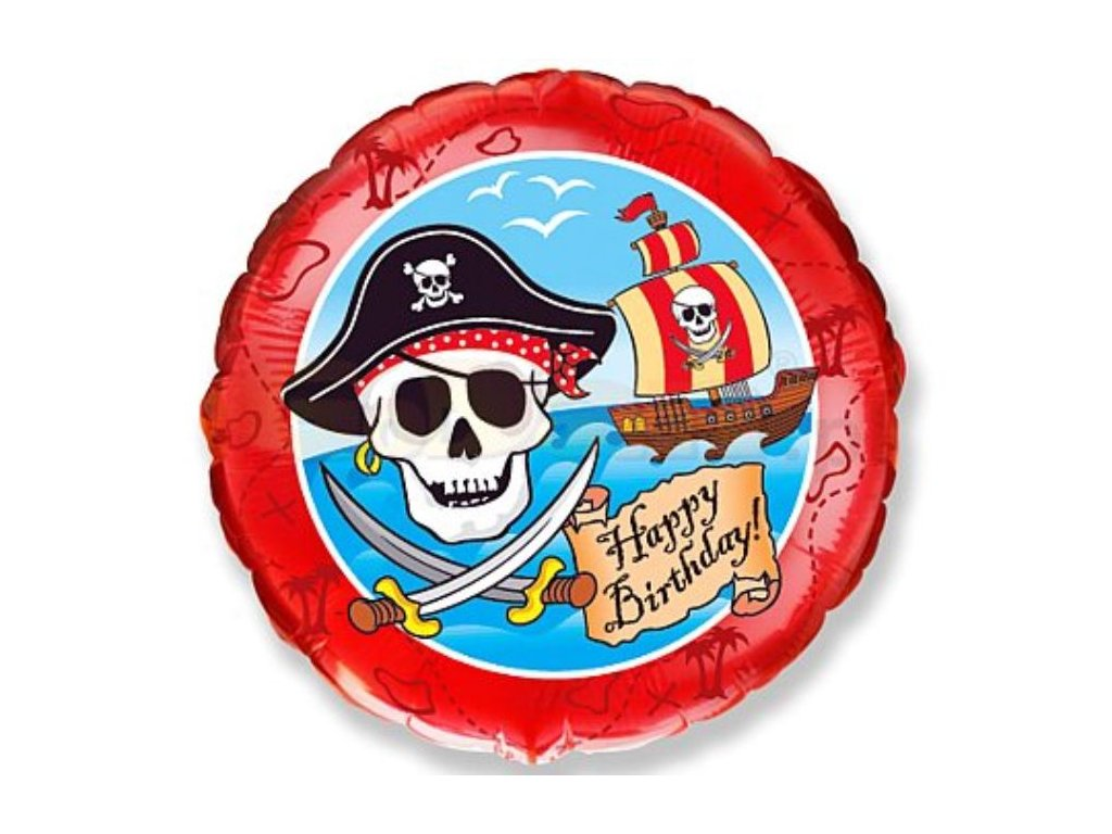 Balón foliový Pirát -Happy Birthday - narozeniny - 45 cm