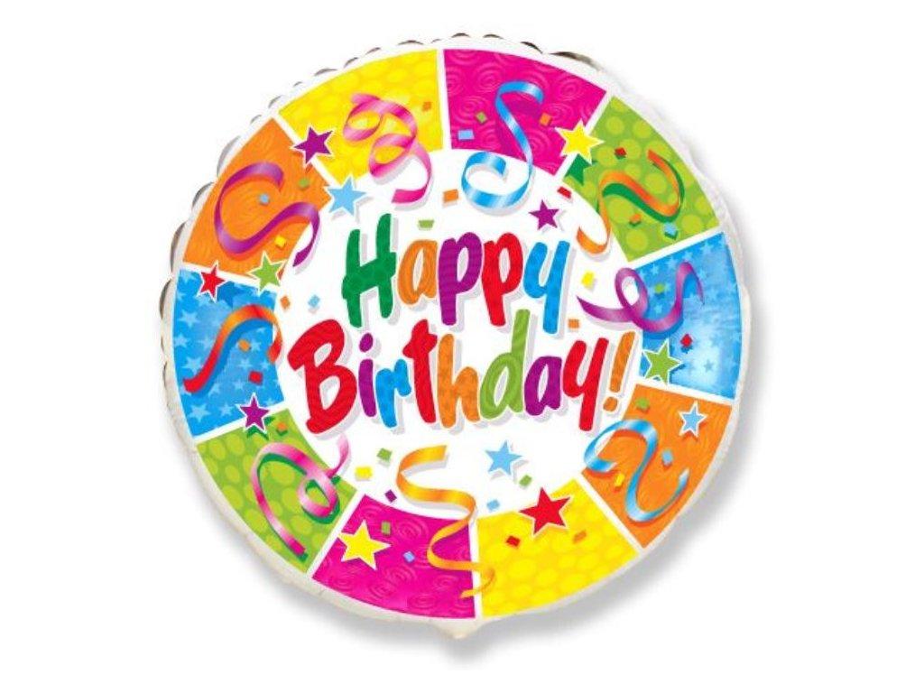 Balón foliový HAPPY BIRTHDAY PARTY - narozeniny - 45 cm