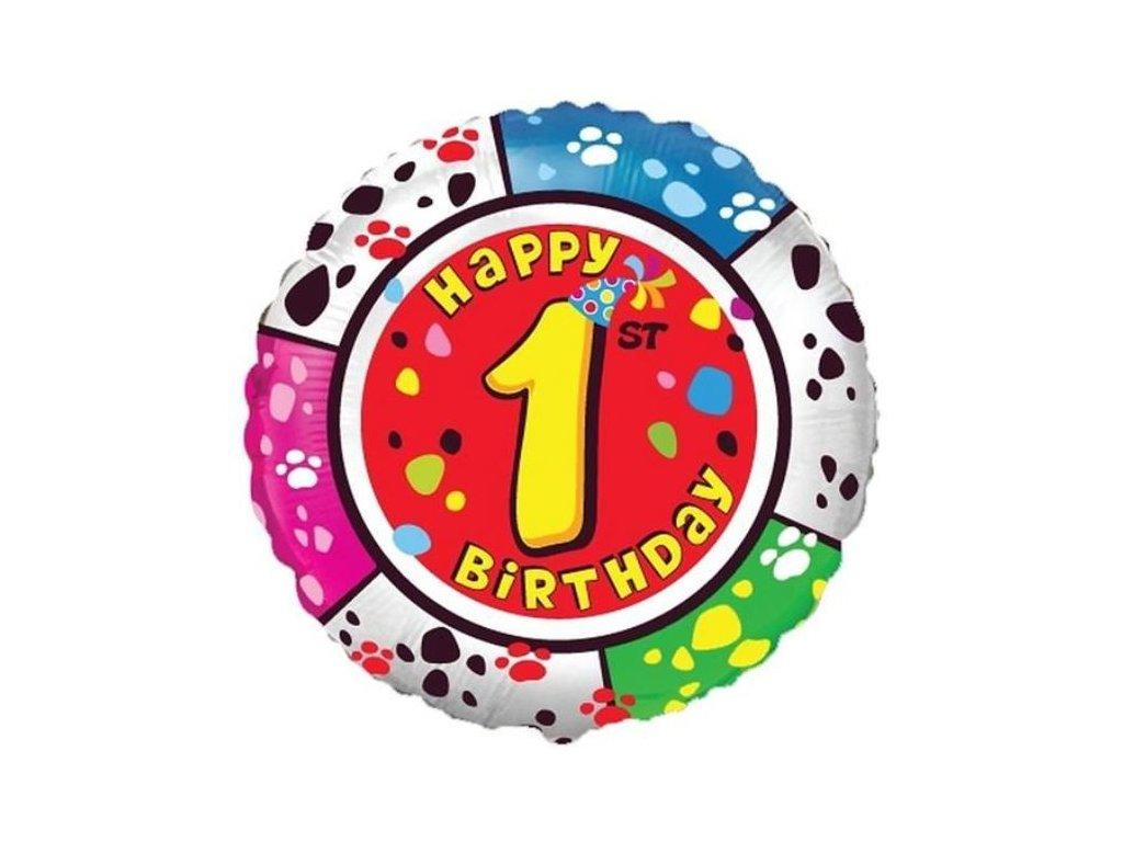 Balón foliový HAPPY BIRTHDAY 1. NAROZENINY 45 cm