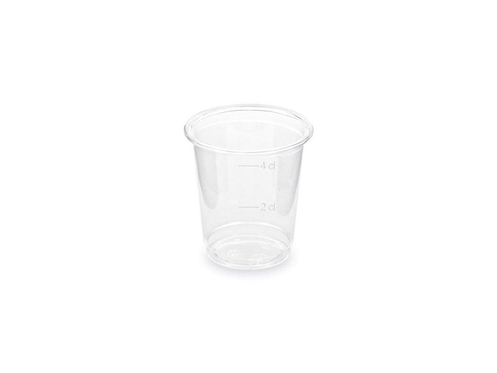 Odlivka - panák na alkohol PET čirý 4 cl, 40 ks/bal