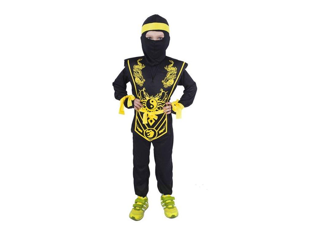 Dětský kostým Ninja žlutý vel.S