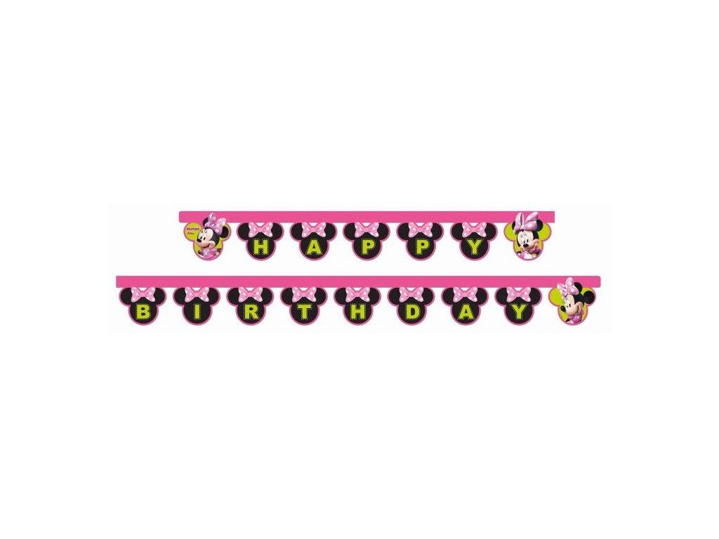 """Girlanda myška Minnie - narozeniny """"Happy Birthday"""" 200 cm"""