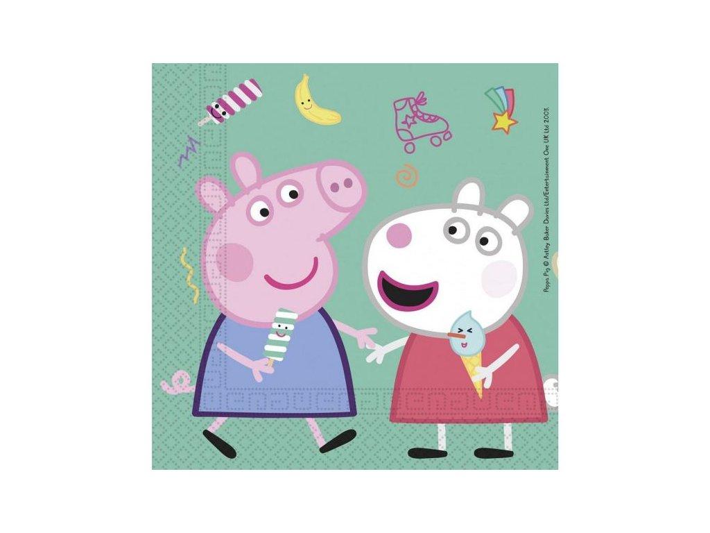 """Papírové ubrousky prasátko Peppa """"Peppa Pig"""", 33x33 cm, 20 ks"""