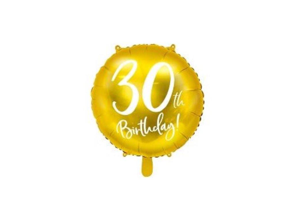 Balón foliový 30. narozeniny zlatý, 45cm