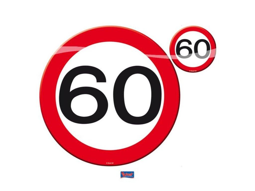 Prostírání dopravní značka 60, 4x talíř, 4x sklenička