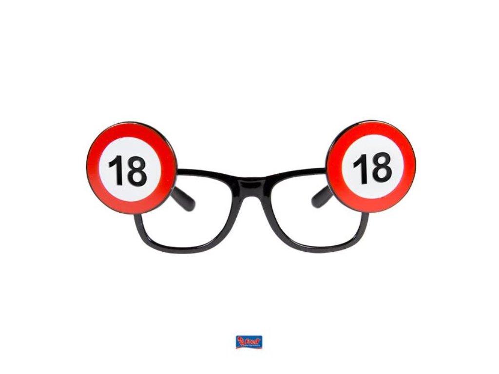 Párty brýle narozeniny dopravní značka -18