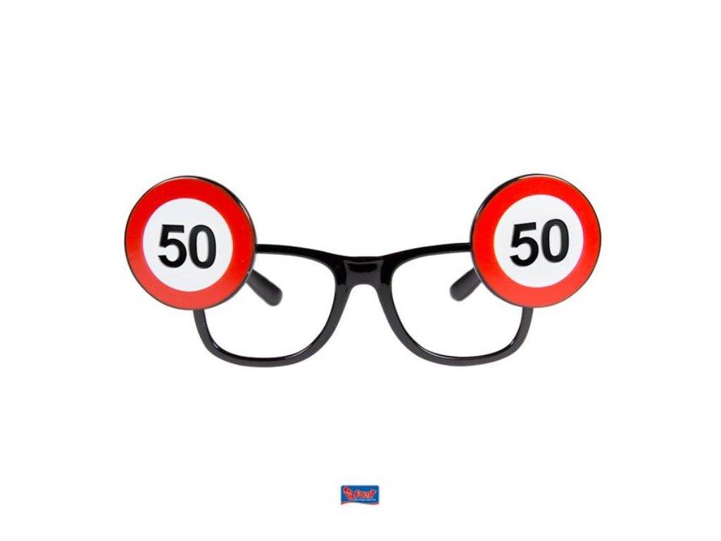 Párty brýle narozeniny dopravní značka - 50